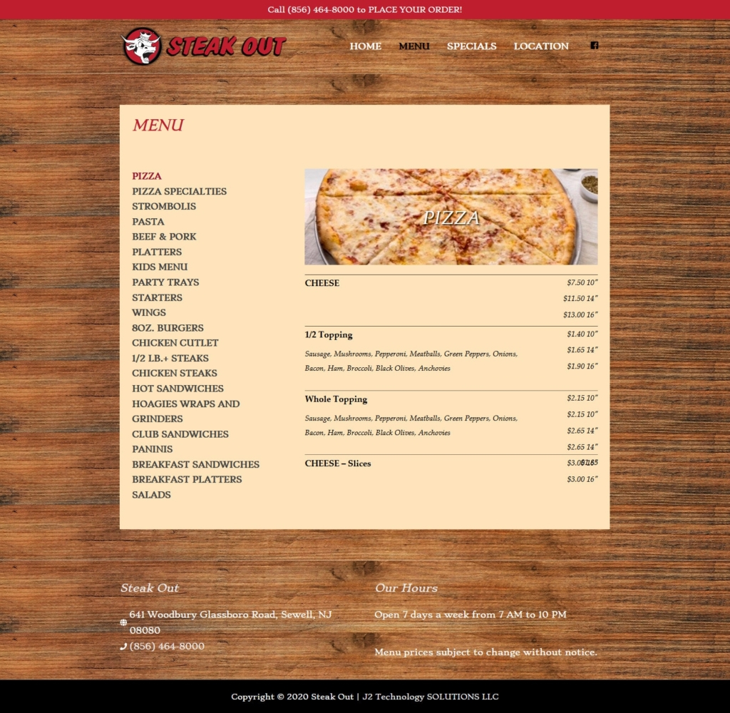 MySteakOut.com Menu